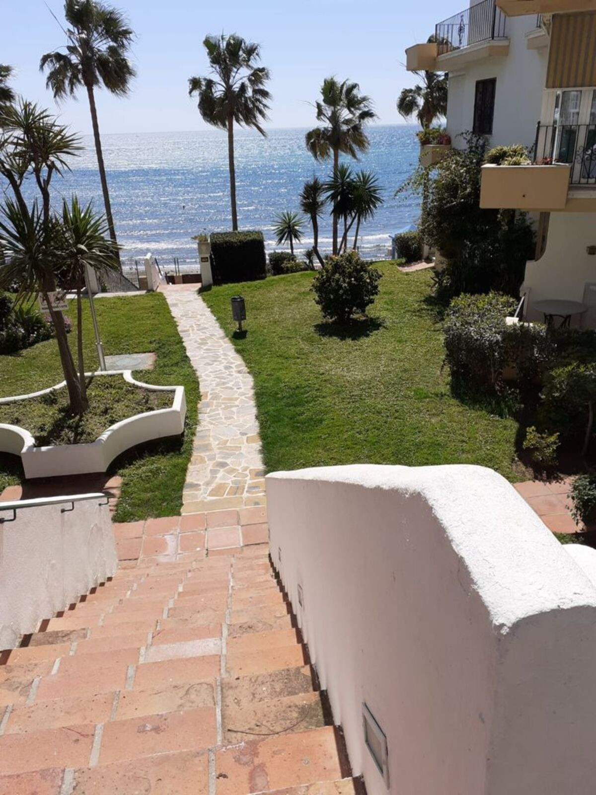 Frontline beach urbanisation in Marbella del Mar on playa la bajadilla, near the quiron hospital to ,Spain