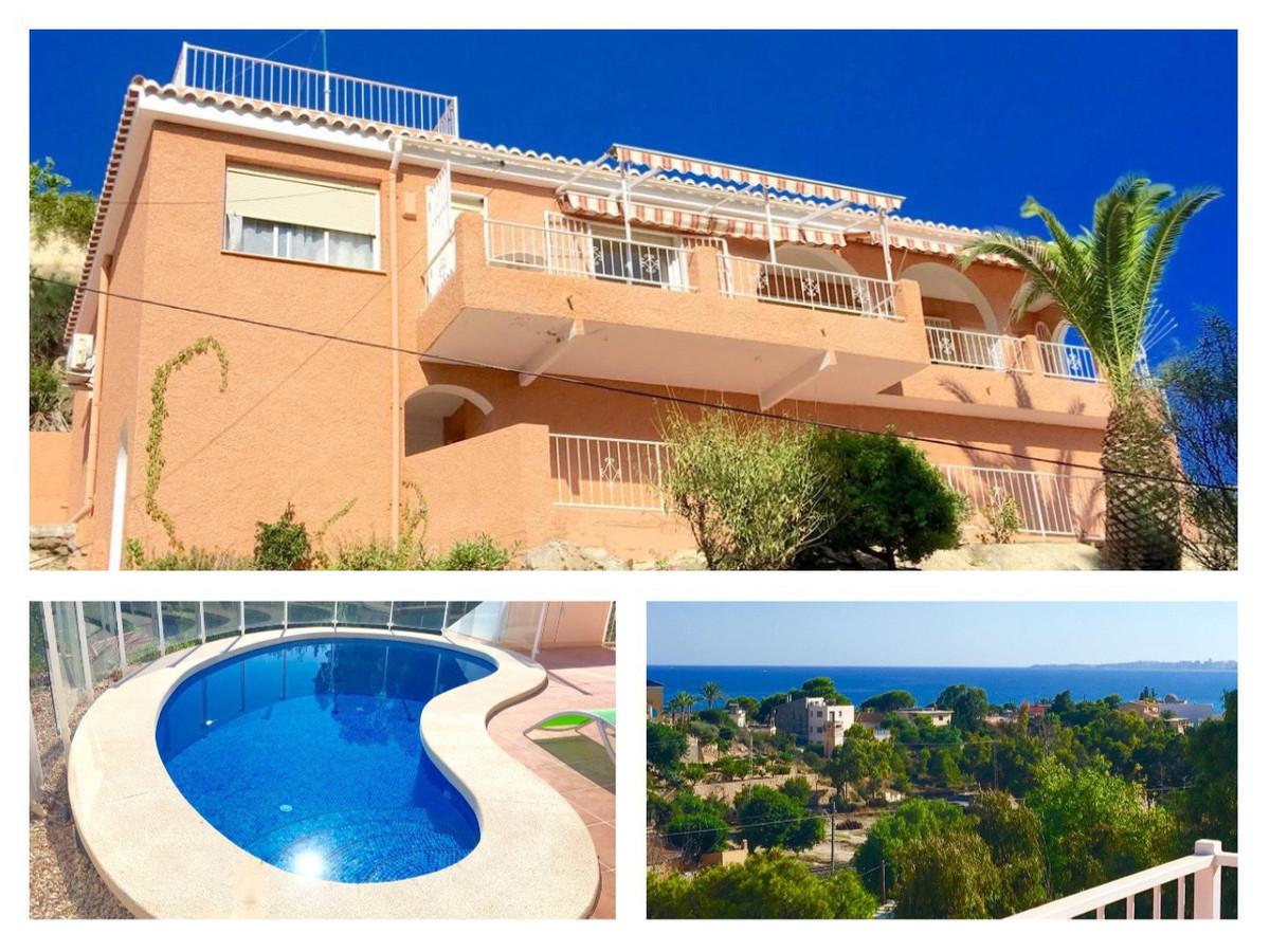 Sea view, south-facing, detached villa with heated swimming pool in Coveta Fuma.  1980, 2 storey, de,Spain