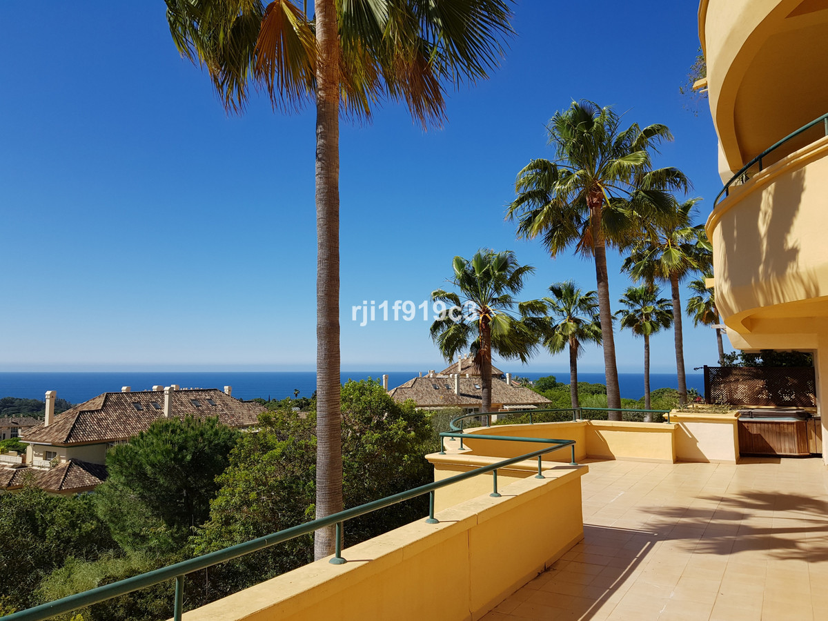 Elevated ground floor 3 bedroom apartment in Elviria Hills, with incredible sea views, a huge terrac,Spain