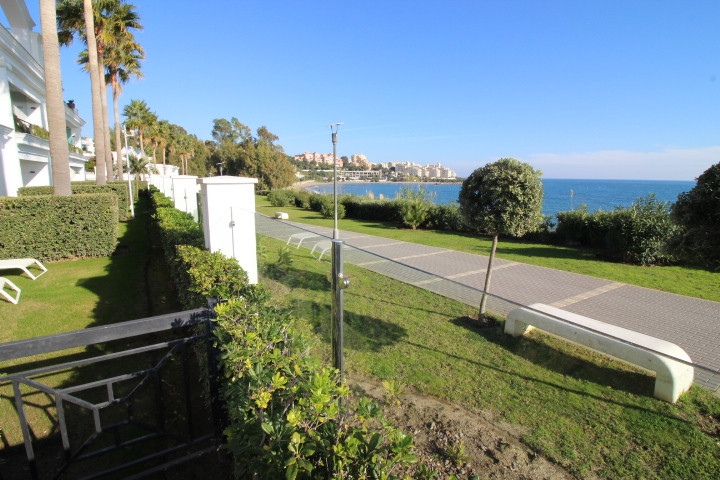 Frontline 2 bedroom ground floor apartment for sale in an exclusive development in Estepona! This gr,Spain